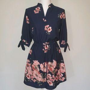 Mint Of Blush Floral 3/4 Sleeve Dress
